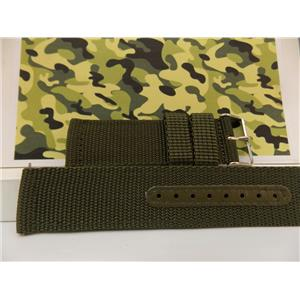 Military Green 18mm Wide Nylon Stich Reinforced Strap w/Pins.Washable Watchband