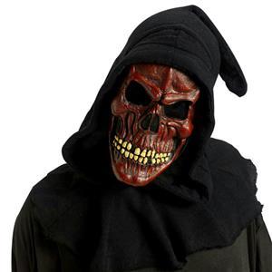 Red Shrouded Skull Mask with Hood