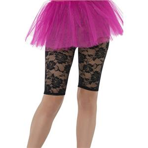 Smiffy's Women's 80's Black Lace Cycling Shorts Fancy Dress Costume Accessory