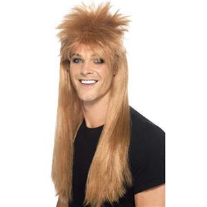 Smiffy's Men's Brown 80's Rocker Mullet Wig