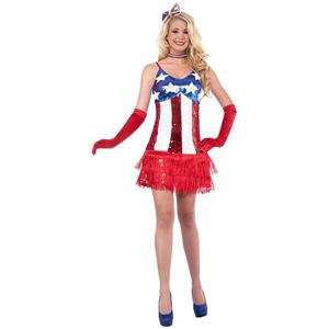 Sexy Patriotic Sparkle July 4th American Flag Sequin Flapper Costume Dress M/L