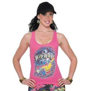 Forum Novelties Women's Pink Hip Hop Old School Costume Tank Top