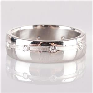 "Unisex Platinum Round Cut ""G"" Diamond Wedding / Anniversary Band .24ctw"