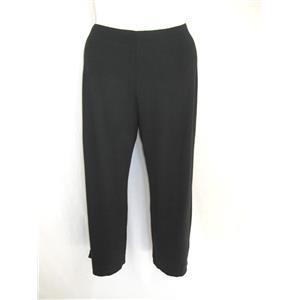 """J Jill Wearever Size XS Full Leg Pull On Rayon Crop Pants 2"""" Hem Vents in Black"""