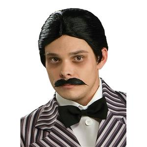 The Addams Family Gomez Black Wig and Moustache Kit