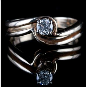 14k Yellow Gold Round Cut Diamond Solitaire Engagement / Wedding Ring Set .15ct