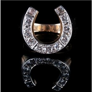 Men's 14k Yellow & White Gold Two-Tone Diamond Horseshoe Cocktail Ring 1.10ctw
