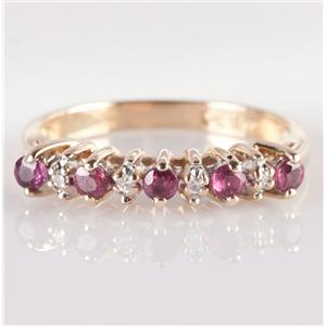 14k Yellow Gold Round Cut Ruby & Diamond Ring / Band .78ctw