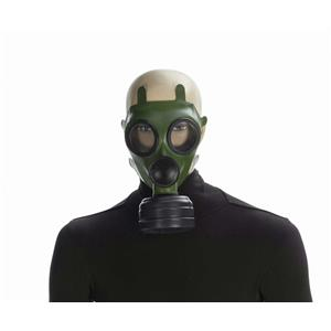Green Adult Costume Gas Mask with Black Ventilator