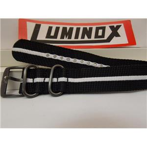 Luminox Watchband Regimental Stripe.Black/White 23mm w/ Gun Metal Hardware.Strap