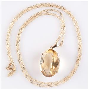 "Vintage 1950's 14k Yellow Gold Citrine Solitaire Pendant W/ 32"" 18k Chain 38.0ct"