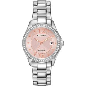 Citizen Ladies Pink Dial w/ Swarovski Diamonds Bezel. Eco Drive Solar/Light Powered All Steel