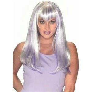 Long Straight White With Purple Hot Steaks Wig with Bangs