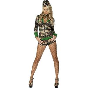 Smiffy's Women's Fever Sexy Combat Army Chic Camo Jumpsuit and Hat Size Small