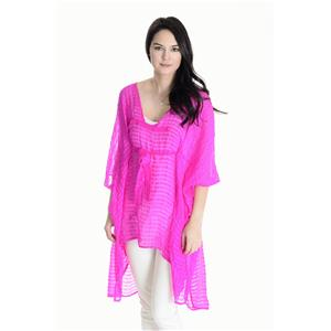 One Size Vitamin A Fluorescent Pink Sheer Striped Cover Up Adjustable Tie Waist