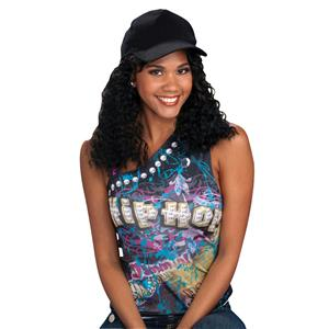 Hip Hop Girlfriend Hat with Attached Black Curly Wig