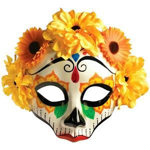 Forum Novelties Women's Day Of Dead Yellow Orange Flower Skull Half Face Mask