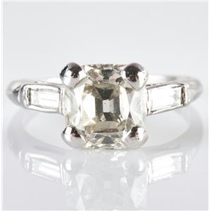 Vintage 1930's Platinum Old Mine Cut Diamond Solitaire Engagement Ring 2.16ctw
