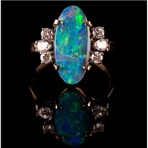 14k Yellow Gold Oval Cabochon Cut Black Opal & Diamond Cocktail Ring 4.0ctw