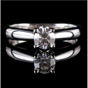 Gordon's Platinum Round Cut Diamond Solitaire Engagement Ring .54ctw W/ Cert