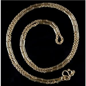 "Stunning 22k Yellow Gold Link & Bar Chain Necklace 24"" Length 15.1g"