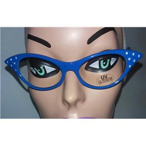 Blue 1950's Cateye Cat Eye Glasses with Rhinestones Clear Lens Sunglasses
