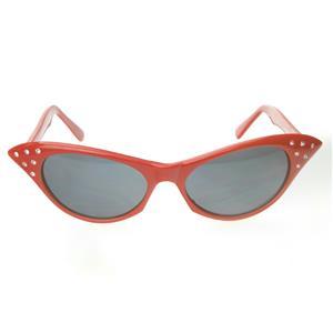 Red 1950's Cateye Cat Eye Glasses with Rhinestones Dark Lens Sunglasses