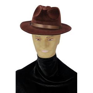 Brown Fedora Gangster Pimp Freddy Foam Flocked Hat