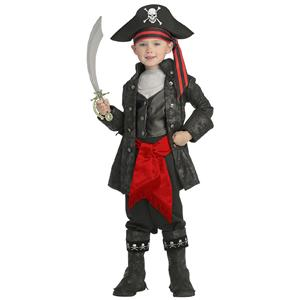 Deluxe Child Captain Black Pirate of the Seven Seas Costume Size Toddler 2-4