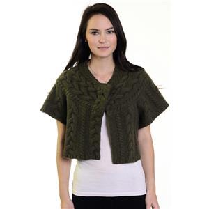 S BCBG Maxazaria Olive Green Braid Detail Knit Short Sleeve Snap Button Closure
