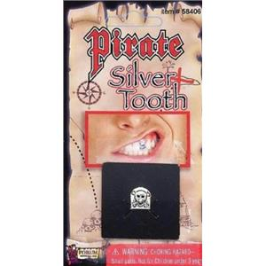 Silver Pirate Tooth Cap with Skull