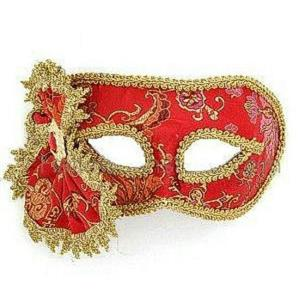 Red with Gold Trim Oriental Style Venetian Eye Mask 62458