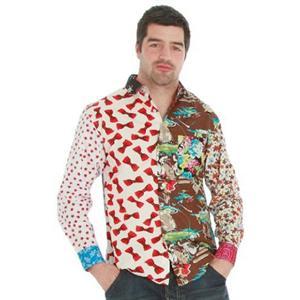 Foul Fashion Tacky Mixed Unique Material Button Long Sleeve Casual Shirt Medium