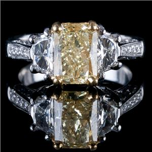 Platinum & 22k Yellow Gold Radiant Cut Yellow Diamond Engagement Ring 3.23ctw