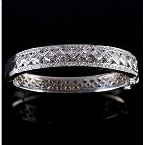 18k White Gold Round & Princess Cut Diamond Hinged Bangle Bracelet 2.88ctw