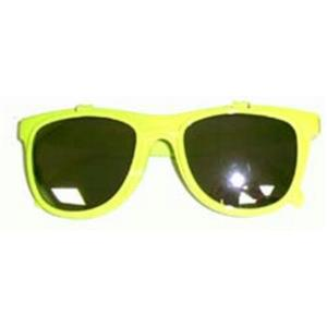 80's Neon Yellow Mirror Lens Flip Up to Clear Lens Blues Brother Glasses Eyewear