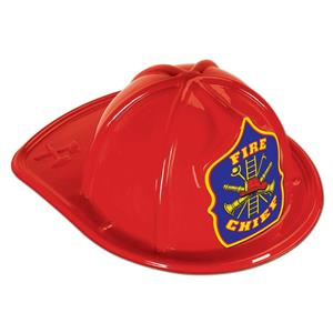 Beistle Red Plastic Fireman Chief Child Helmet Costume Hat