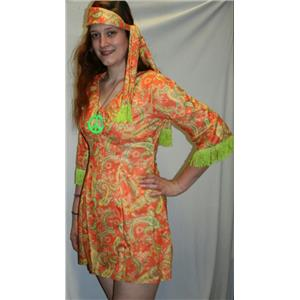 Paisley Daisy Flower Hippie Chick Adult Costume Dress and Headscarf with Fringe