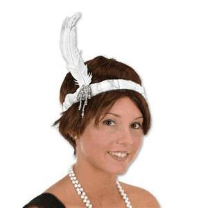 White Flapper Roaring 20's Charleston Headband
