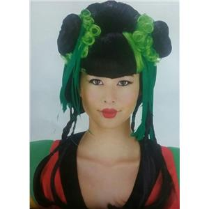Black and Green Couture Geisha Wig