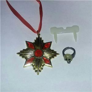Dracula Accent Costume Kit Medallion Glow in the Dark Plastic Fangs & Skull Ring
