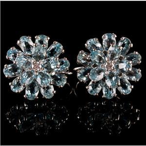 Vintage 1960's 14k White Gold Aquamarine & Diamond Cluster Clip On Earrings