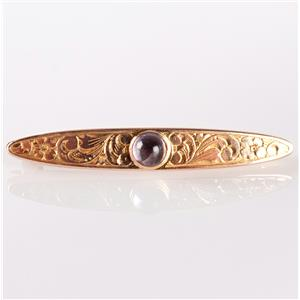 Vintage 1930's 14k Yellow Gold Round Cabochon Cut Amethyst Solitaire Pin .55ct
