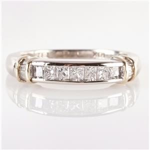 10k White & Yellow Gold Princess & Baguette Cut Channel Set Diamond Band .50ctw