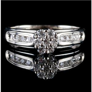14k White Gold Round Cut Diamond Cluster Engagement Ring .48ctw