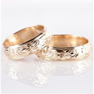 14k Yellow Gold Etched Floral / Leaf Design Matching Wedding Bands