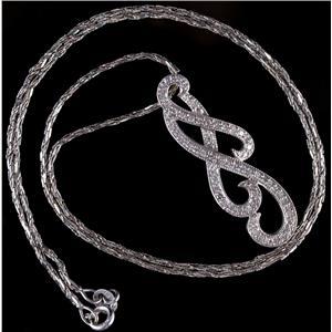 "14k White Gold Round Cut Diamond Swirl Design Pendant W/ 18"" Chain .92ctw"