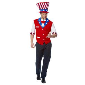 Franco Men's Uncle Sam 4th of July Patriotic Adult Costume XL up to 50 chest