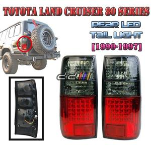 1 Pairs Crystal Red LED Smoke Tail Lamp Light Lexus Lx450 Landcruiser FJ80 LC80