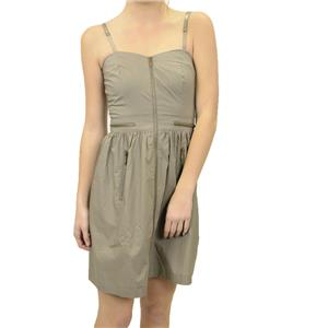 NWT Kensie Glam Slam Zipper Front Cotton Dress Clay Taupe Sweetheart PFMU9705